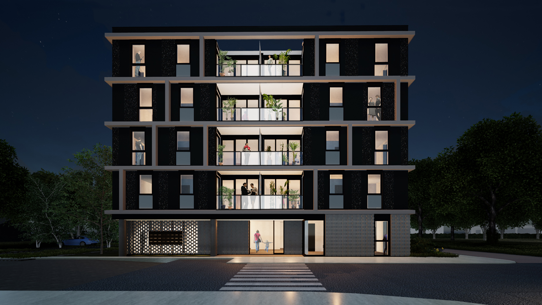 De Meker is a new residential building with 32 apartments in the social housing sector. It will be the last constructed block in the urban district Veerse Poort in Middelburg, and it is located on the border of the adjacent Nieuw Middelburg district. The unique position between the two districts adds to the spatial urban quality of the apartment block.